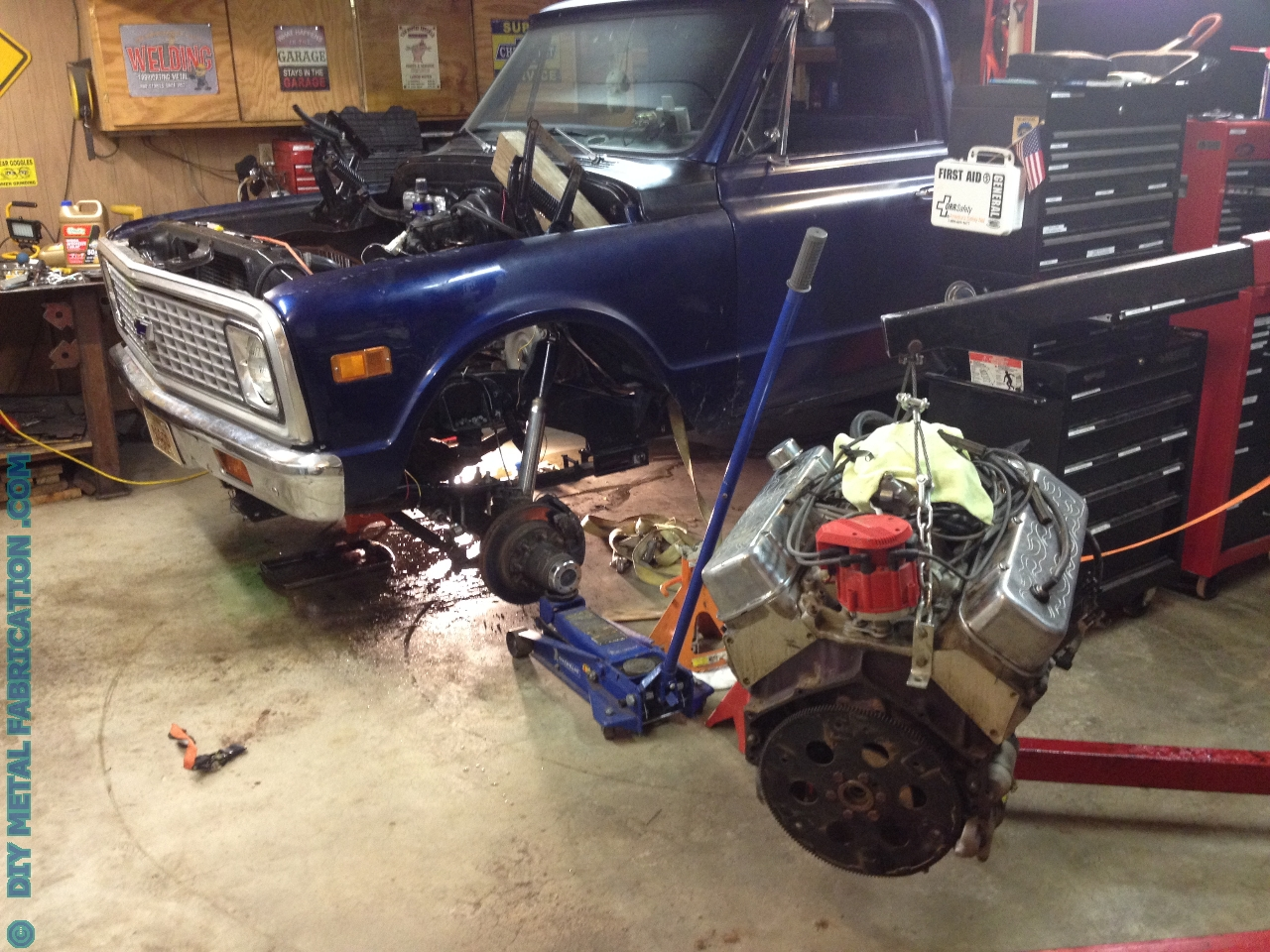 Chevy 1971 Truck >> 5.3 LS Engine Swap into Ol' Blue 1971 Chevy Truck Part 1 – DIY METAL FABRICATION .com